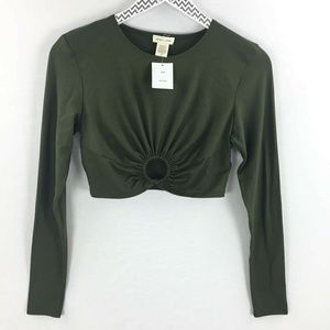 Silence + noise green long sleeve crop top medium